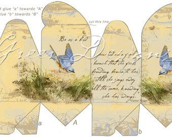 Printable gift box digital download french pastry cakes vintage printable gift box template digital download french vintage victorian style bird bluebird branch victor hugo poem party favor negle Gallery