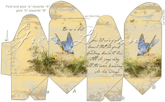 printable gift box template digital download french vintage victorian style bird bluebird branch victor hugo poem party favor from greerdesign on etsy