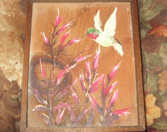 Vintage Hand Painted on Wood Hummingbird on flowers 5 x 6""