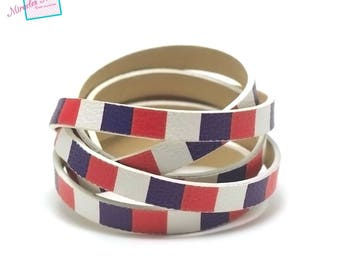 """1 m cord strap of split leather 10 x 2 mm """"various No. 2"""", red white blue"""