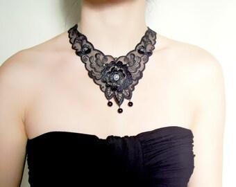 SALE black lace crystal necklace - swarovski crystal charm steampunk bib floral  vintage Victorian steampunk choke jewelry gift