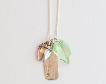 FALL MEMORIES fine silver, metal clay, acorn and swarovski crystal leaf, pendant,