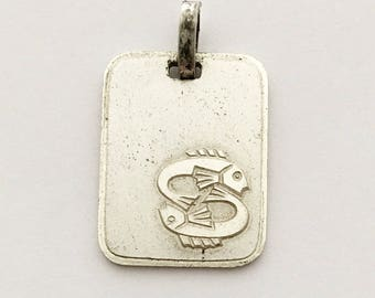 Vintage French Pisces Pendant Fish Zodiac Sign Vintage Necklace Pendant Horoscope Charm Astrology
