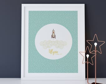 Display decorative name child, rocket, astronaut, bedroom, baby birth gift name