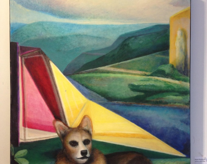 Featured listing image: Venus with Dog - large modern original oil painting - Corgi in a abstract geometric colorful landscape with modern architecture