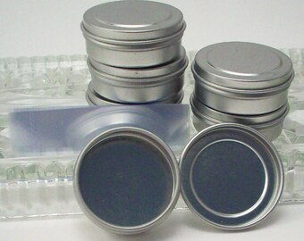 Sample Container - 1/4 Ounce Flat Tins with Lids and Shrink Bands - Metal Balm Container - Lip Balm or Candy Tin - Bead Storage - Pill Box