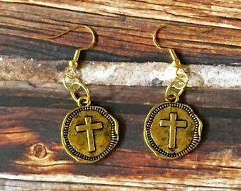 CROSS Earrings Siny Gold Coin Charm Pewter