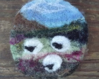 Needle felted landscape of sheep and fields brooch made with natural wool - Made to Order