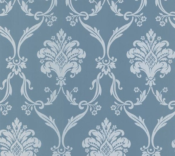 Completely new Ornate Silver and Blue Metallic Damask Wallpaper Floral ZT43