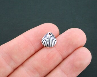 10 Shell Charms Antique Silver Tone - SC4720