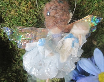 Baby Boy Merino Wool Felted Fairy Decoration for Baby Shower