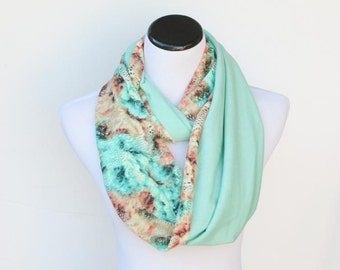 Reversible infinity scarf bohemian jersey knit lace floral pistachio peach feminine loop scarf - gift idea for birthday and Christmas