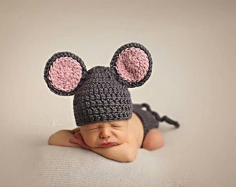 Newborn Mouse Outfit and Diaper Cover, Newborn Animal Hat, Photo Prop, Crochet Mouse Outfit, Halloween Costume,, Newborn Photo Prop