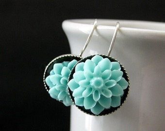 Aqua Dahlia Flower Earrings. French Hook Earrings. Aqua Flower Earrings. Lever Back Earrings. Handmade Jewelry.