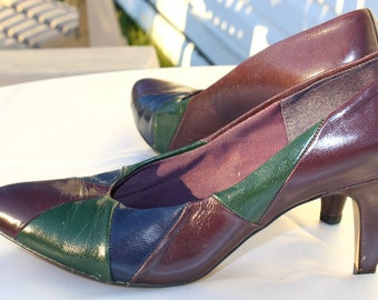 Vintage patchwork Joyce leather heels