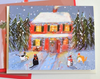 Holiday Visit - Christmas Cards - Christmas Cat Card - Christmas Card - Country Cats