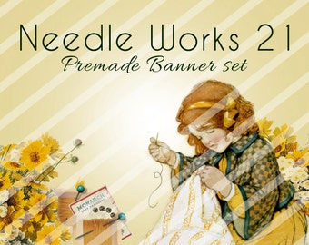 "Banner Set - Shop banner set - Premade Banner Set - Graphic Banners - Facebook Cover - Avatars - Bisiness Card - ""Needle Works 21"""