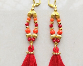 Boho Earrings Crystal beads