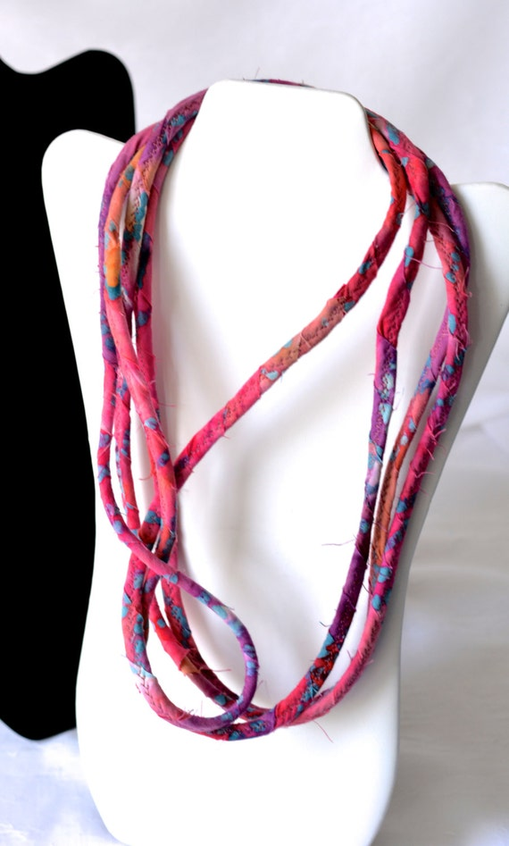 Primitive Pink Necklace, Multi Strand Necklace, Infinity Wrap Fabric Jewelry, P100, Handmade Fabric Scarf, Rustic Pink Aqua Necklace