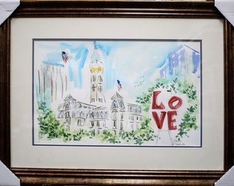 Philadelphia Love Park And City Hall Original watercolors Painting By Joe Barker,(24x31) Framed and Matted