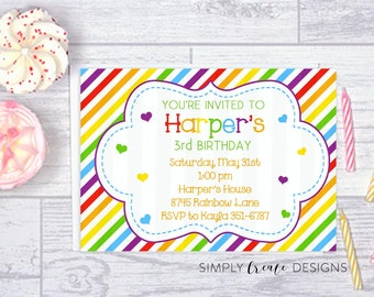 SALE Rainbow Birthday Invitation Rainbow and Hearts 5x7 Invite Jpeg DIGITAL File