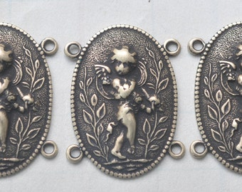 Three  jewelry connectors with angel, Brass Ox, Jewelry Supplies, Brass Stampings Made in the USA