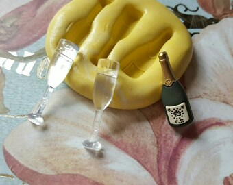 Champagne and Glasses Flexible Silicone Mold-for polymer clay, resin, wax, fondant, etc.
