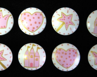Set of 8 PINK PRINCESS KNOBS - Dresser Drawer Knobs Pulls - Crowns, Castles, Wands and Hearts