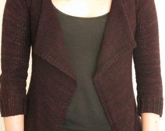 PATTERN Drape Front Fitted Cardigan Knitting Pattern Pdf / Sweater Knitting Pattern