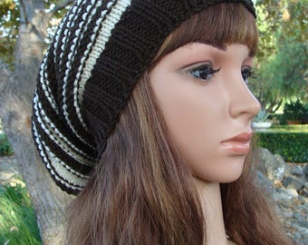 Striped Slouchy Beehive Hat with 2inch brim, Slouchy, Size Teen/Adult