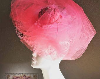 Handmade Clip Tulle Fascinator Hat Bright Watermelon Pink Peony Flower KENTUCKY DERBY ROYAL Ascot Del Mar Races Church Melbourne Cup Gala