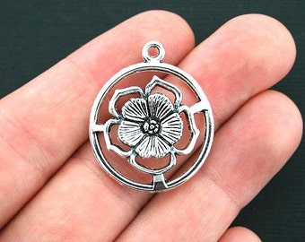 6 Flower Charms Antique Silver Tone Larger Sized - SC4088