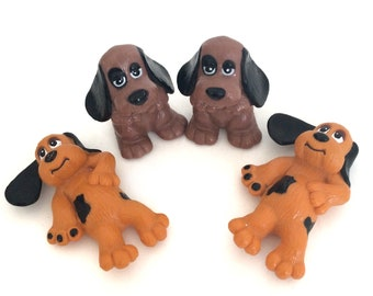 Vintage 1980's Pound Pups Plastic Toys- Pound Puppy Dog Figures- 1984 Pound Puppies Retro Toy