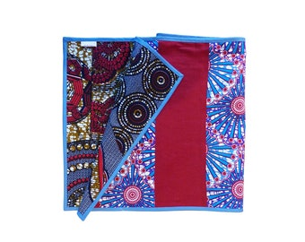 wax reversible table Runner * Red & blue *.