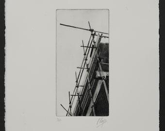Scaffolding Print 2. An original drypoint print of scaffolding