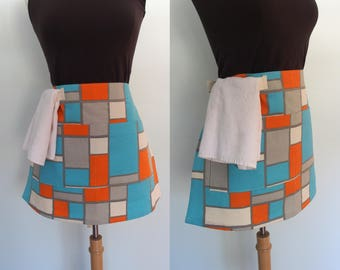 Canvas Half Apron in Blue, Orange and Gray, Waist Apron with Pocket and Towel Loop, Waitress Apron, Server Apron, Vendor Apron, Bistro Apron