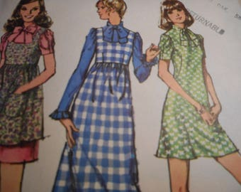 Vintage 1970's Simplicity 9769 Dress and Pinafore Sewing Patterns Size 11 Bust 34