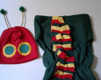 Hungry caterpillar toddler size costume, hungry caterpillar hat, caterpillar costume, toddler Halloween costume, hungry caterpillar costume