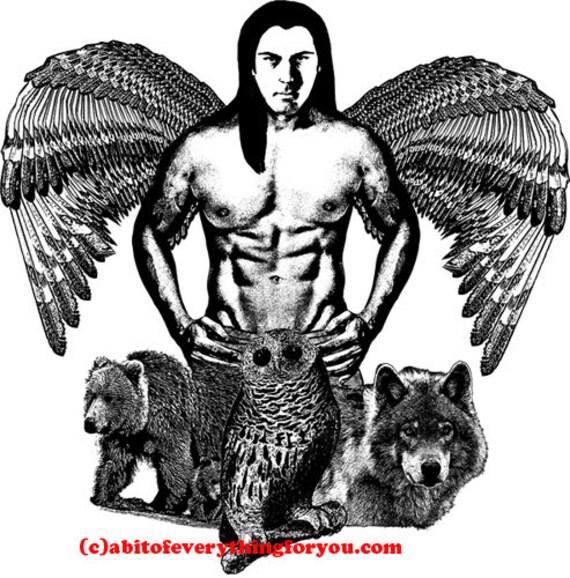 Indian angel man printable art print wolf bear owl printable animal prints animal spirits digital download graphics images black and white
