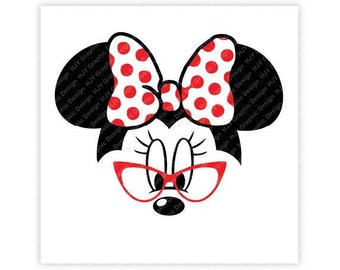 Disney, Minnie Mouse, Glasses, Icon Mickey Mouse Head, Mouse Ears, Digital, Download, TShirt, Cut File, SVG, Iron on, Transfer