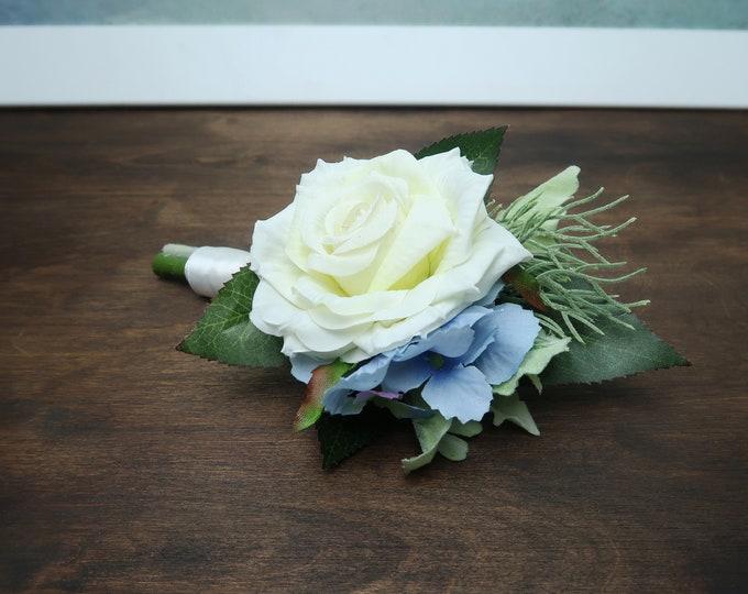 White rose blue hydrangea wedding groom boutonniere realistic silk flowers single rose dusty miller flocked leafs greenery ivory elegant