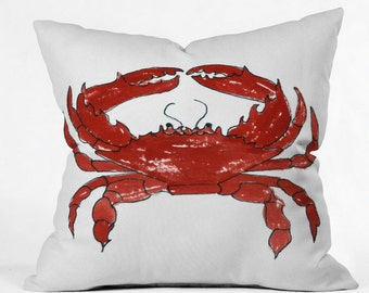 Red Crab Throw Pillow