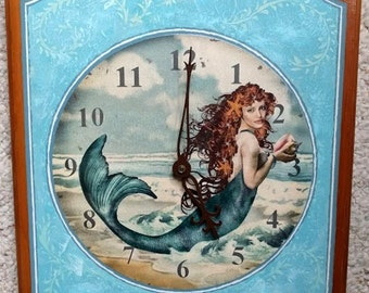 Pretty Red Haired Star Fish Mermaid Wood Hand Painted Clock