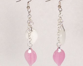 Pink and White Glass Leaf Earrings