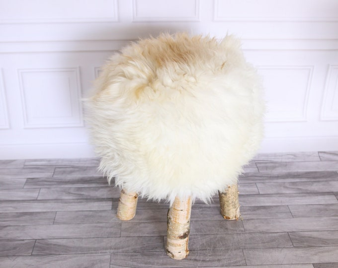 Wood Stool | Fur Stool | Sheepskin pouf | Sheepskin stool | Vanity Stool | Birch tree stool | White Beige stool