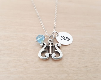 Harp Necklace - Music Necklace - Birthstone Necklace - Personalized Gift - Initial Necklace - Sterling Silver Necklace - Gift for Her