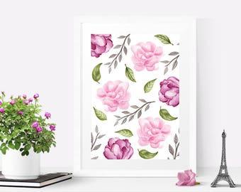 Printable artwork, Nursery wall art girl PRINTABLE, Watercolor flowers print, Floral print art, Floral wall art, Home decor wall art