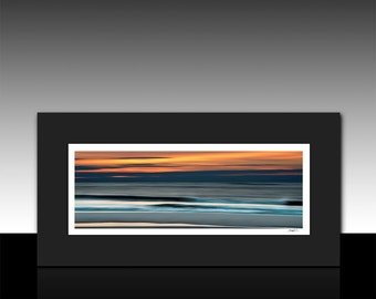 Abstract Ocean art, Panoramic Matted Print, blue, orange, housewarming gift, Ready for 10x20 Frame