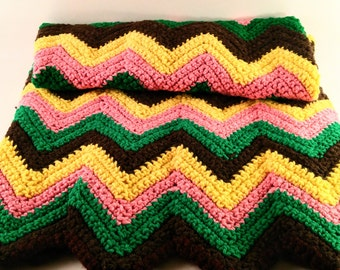 Vintage Hand Knitted Afghan Throw. Pink, Yellow, Brown  & Green Chevron. Retro Baby or Lap Blanket, Nursery and Child's Room Decor.