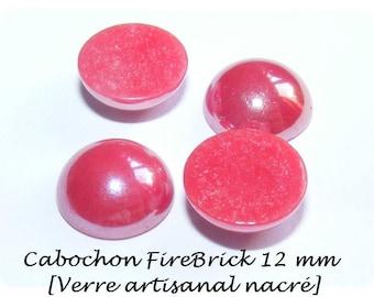 [Firebrick] 12 mm cabochon handmade glass Pearl x 1